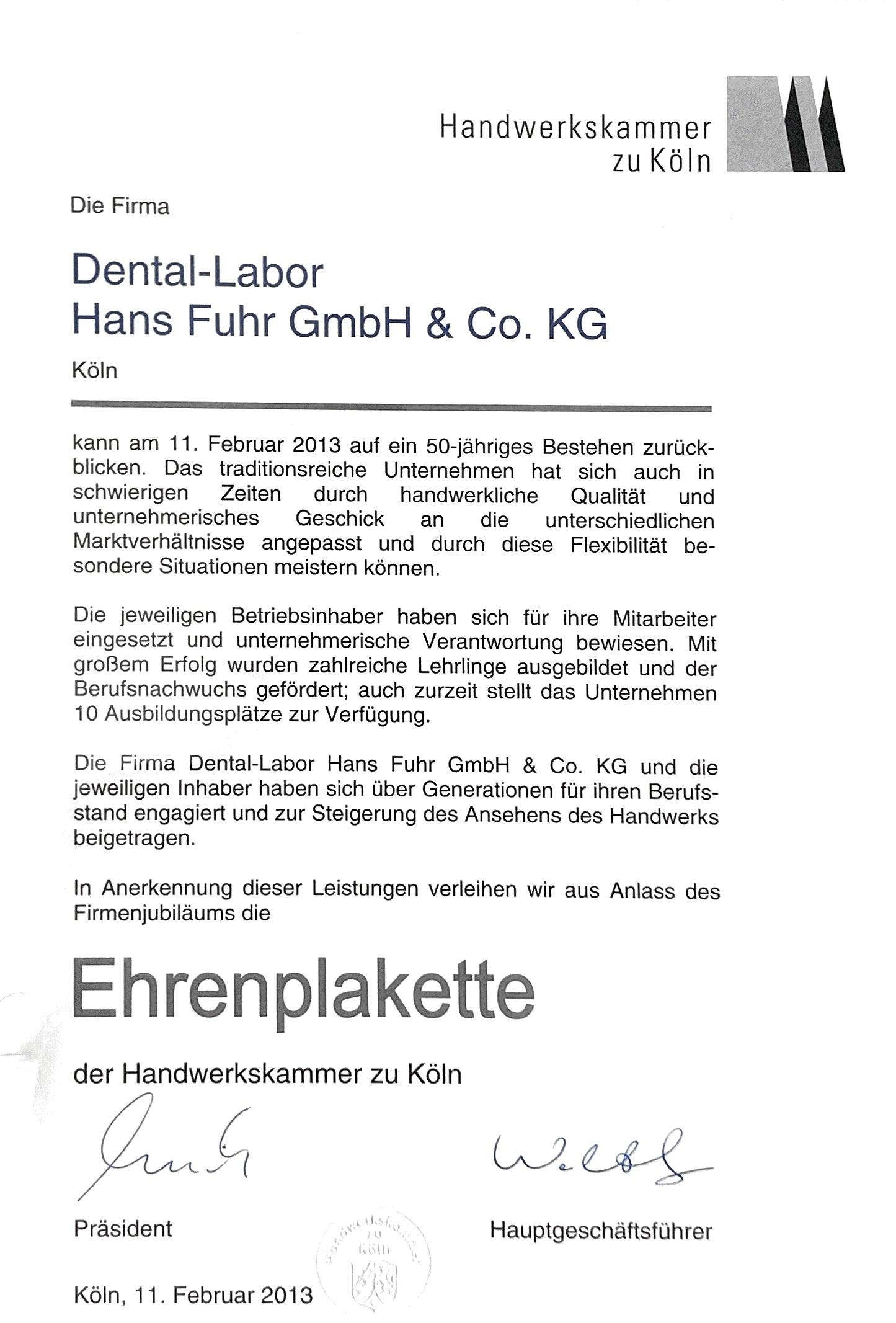 Urkunde Dental-Labor Hans Fuhr Ehrenplakette