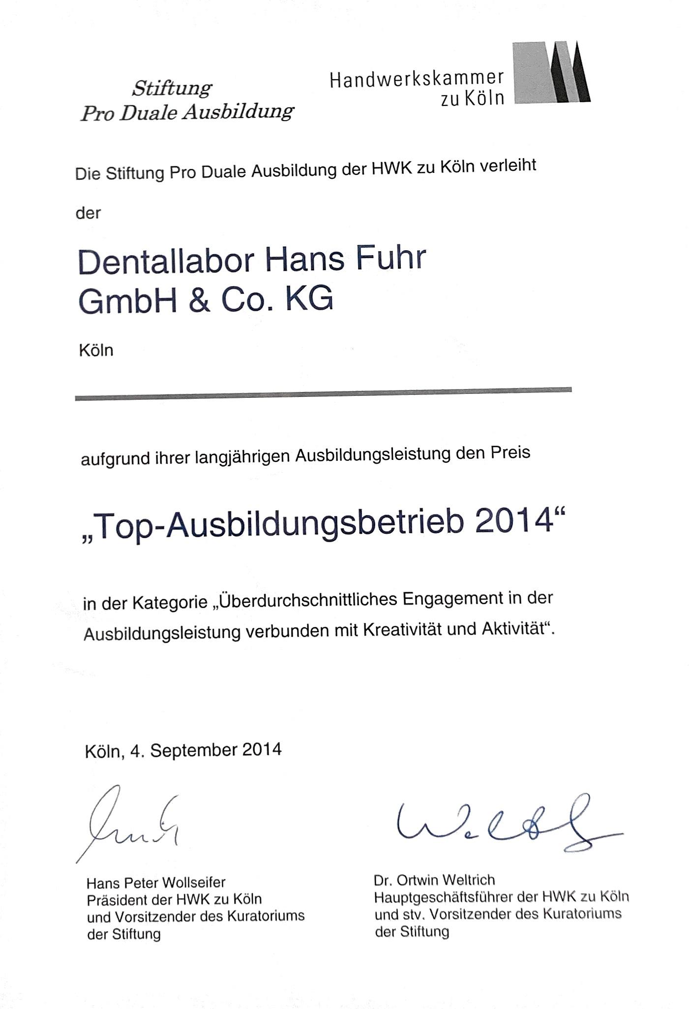 Urkunde Dental-Labor Hans Fuhr Top Ausbildunsgbetrieb