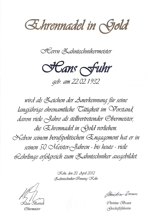Urkunde Hans Fuhr Ehrennadel in Gold