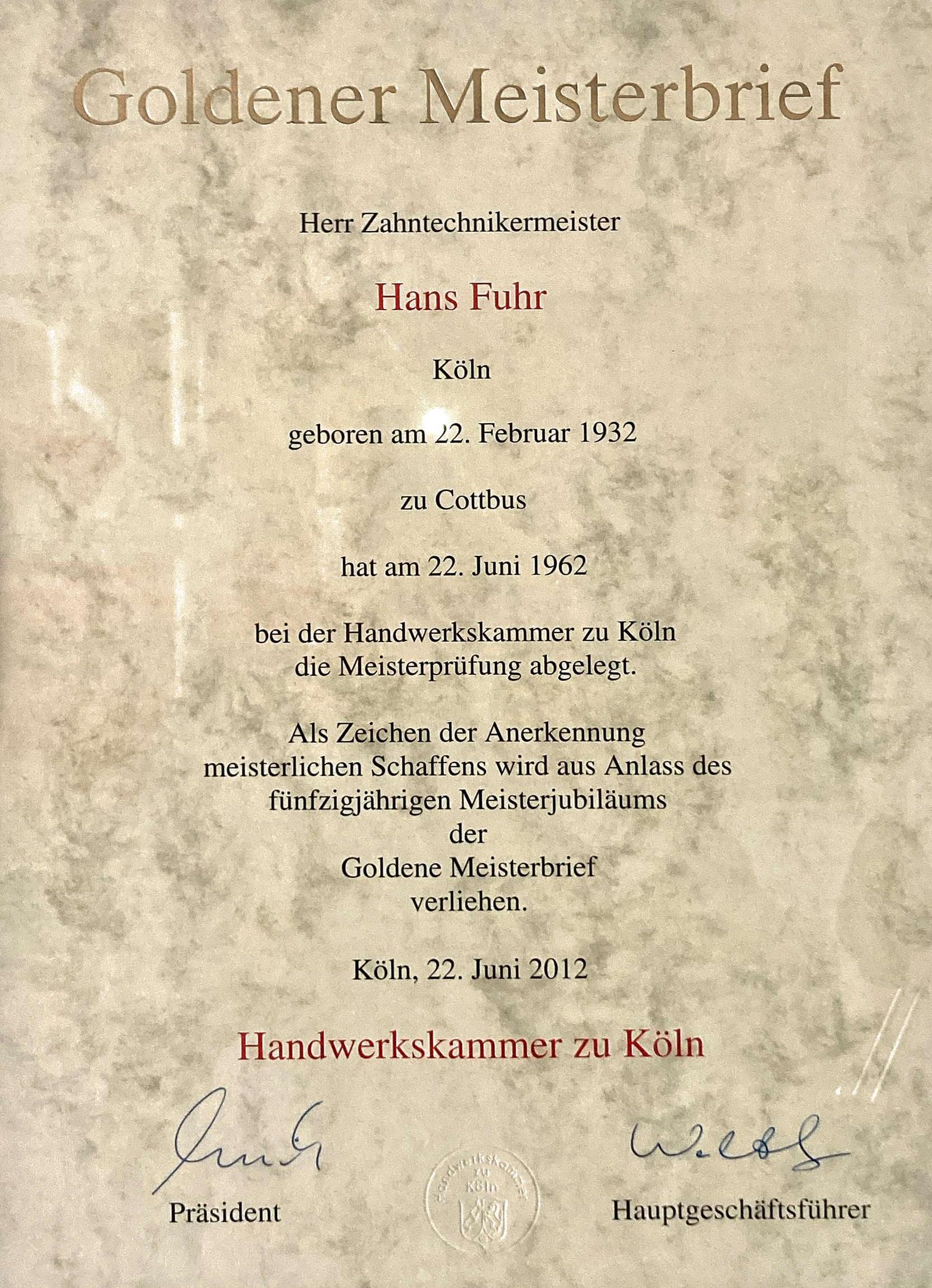 Urkunde Hans Fuhr Goldener Meisterbrief